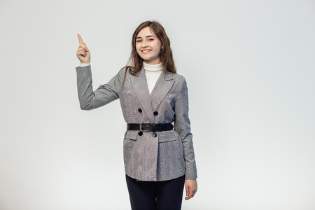 A beautiful girl on a white background is isolated