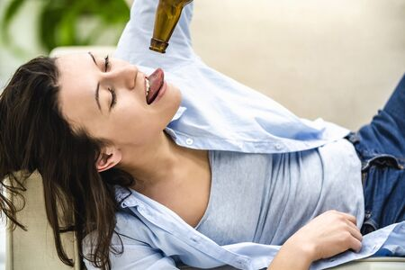 Concept alcohol abuse. Crop. Casual style Close up Stockfoto