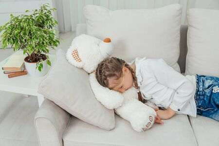 Time to sleep. Shot of little girl and her favourite plush toy. Childhood. Stockfoto
