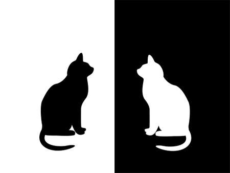 contrast: Black and white cat on black and white background. Concept (1) Opposits attract. Two opposite characters attract and watch each other. Concept (2) Inverse mirror. The black figure on white sees itself as a white figure on black.