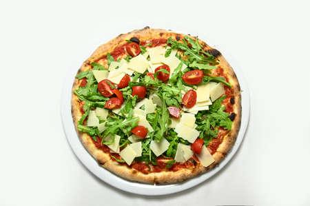 Rocket pizza, parmesan, cherry tomatoes