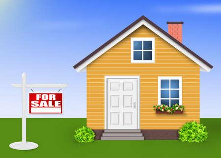 House for sale, Home orange simple Фото со стока