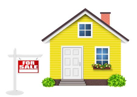 House for sale, Home yellow simple Фото со стока