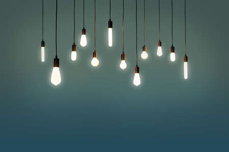 bulbs electric and a light as a concept background color blue, green