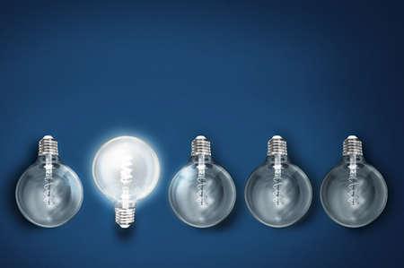 creativity innovation illuminated light bulb row dim ones concept solution