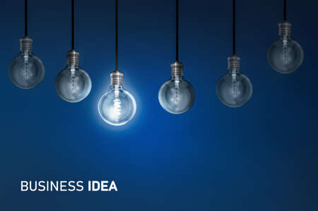 Business idea, creativity innovation illuminated light bulb row dim ones concept solution Stock fotó