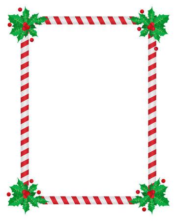 Christmas border, holly, Season december and frame postcard