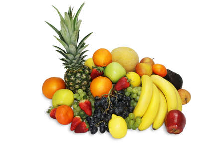 Fruits food mix fresh isolated natural healthy Stock Photo
