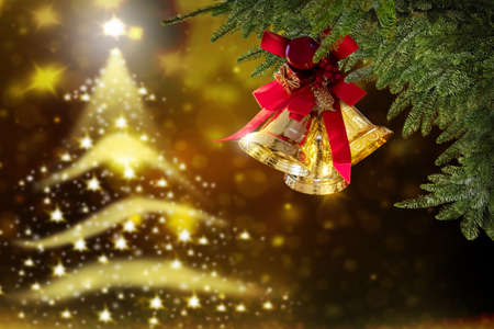 Christmas bells, Holiday golden Stock Photo
