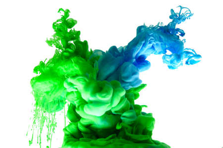 ink in water green blue abstract background smoke isolated