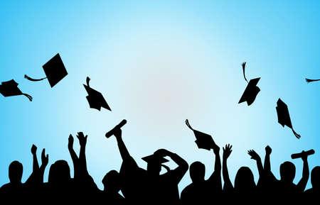 Graduation Celebration university students background Foto de archivo