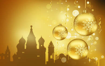 Moscow City silhouette, Golden Christmas Balls decorations 写真素材