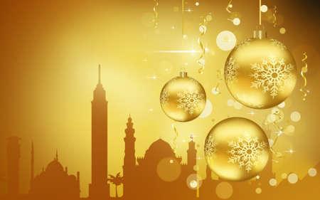 Cairo City silhouette, Golden Christmas Balls decorations 写真素材