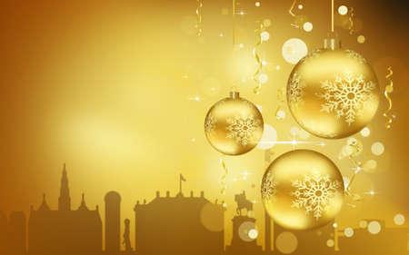 Copenhagen City silhouette, Golden Christmas Balls decorations