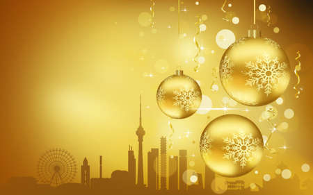Beijing City silhouette, Golden Christmas Balls decorations 写真素材