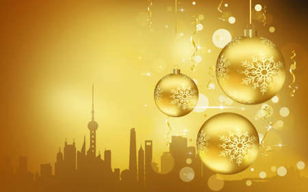 Rome City silhouette, Golden Christmas Balls decorations 写真素材