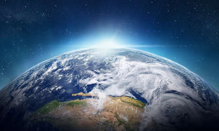 Planet earth, global world in space