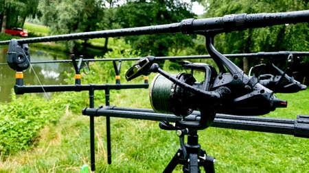 Fishing reels, rods sport hobby Standard-Bild