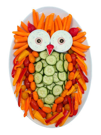Plate with vegetables, vitamin owl shape, decorations