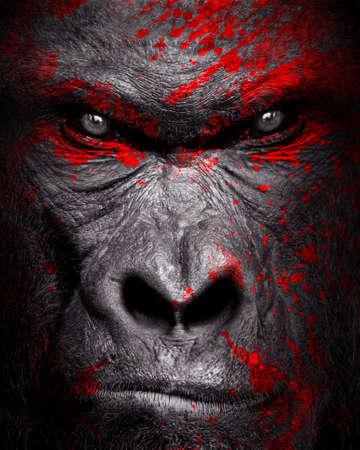 Gorilla art red blood, animal