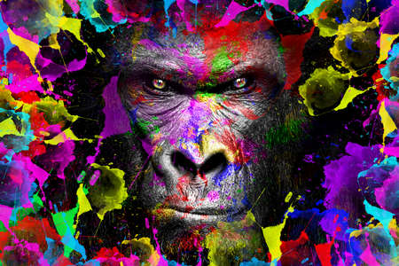 Gorilla art full color, animal Standard-Bild