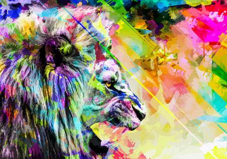 Lion art full color, animal