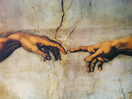 creation of Adam by Michelangelo, Rome Italy March 08 creation Standard-Bild