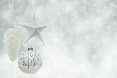 Christmas decorations, ball, stars, cone. greeting card