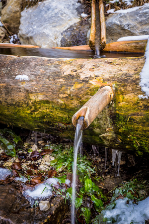 trough: old water fountain in a wooden trough