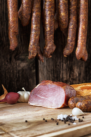 collage of different kinds of meat and smoked sausage meat Stock Photo