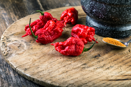 very strongly hot pepper Carolina Reaper or HP22B Stock Photo