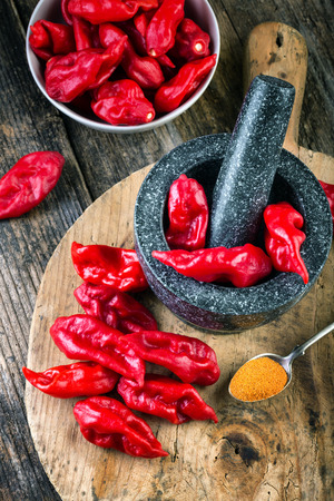 strongly: Bhut Jolokia on wooden table very strongly hot pepper