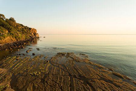 egadi: Volcanic rocky coast near the Sicilian town of Cefalu
