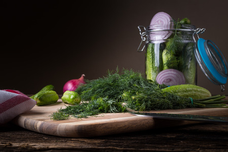 Preservation cucumber with dill and onion. Branch seasoning aromatic spice and jar.