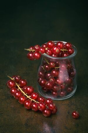 antioxidant: Bunch of red currants in a glass cup. Healthy fruit with antioxidant.
