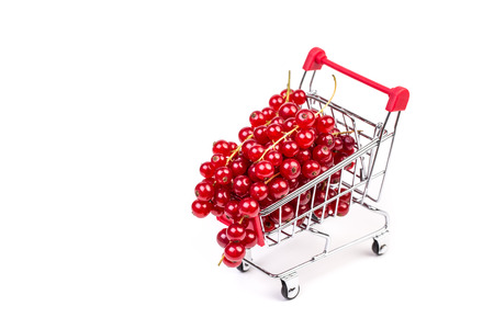 antioxidant: Bunch of red currants in a shopping cart on a white background. Healthy fruit with antioxidant.