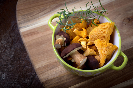 Bowl with cantharellus. Yellow chanterelle and boletus. Different kinds of mushrooms. Seasonal fungi. Stock Photo