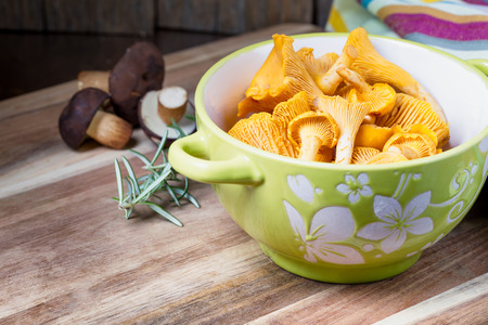 cantharellus: Bowl with cantharellus. Yellow chanterelle and boletus. Different kinds of mushrooms. Seasonal fungi. Stock Photo