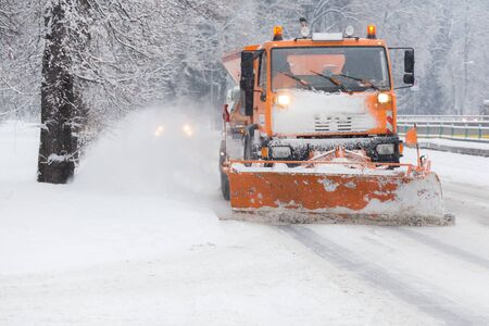 calamity: Traffic jam in the middle of winter. Snow calamity. Snowstorm in Slovakia Stock Photo