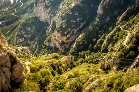 View to cableway to montserrat monastery, catalonia, spain.