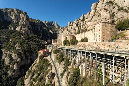 Catalunya, Spain. Sanctuary of Santa Maria de Montserrat Abbey in Montserrat mountains. Stock Photo