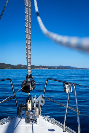 Yacht holidays in the Adriatic Sea in Croatia. Yacht races. Shipping rope, different focus.