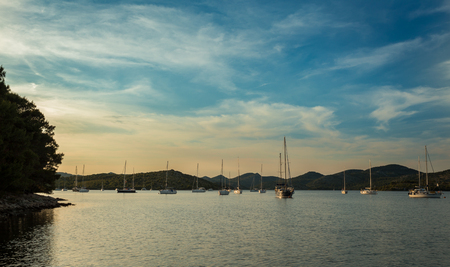 Yacht holidays in the Adriatic Sea in Croatia. Yacht races, evening. Stock Photo