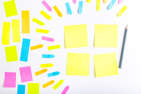Blank sticky notes with different colors and shapes. Reklamní fotografie