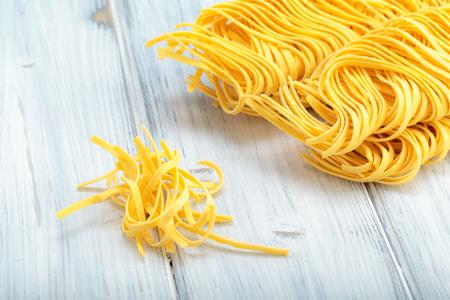 Fresh homemade egg noodles. Italian pasta.