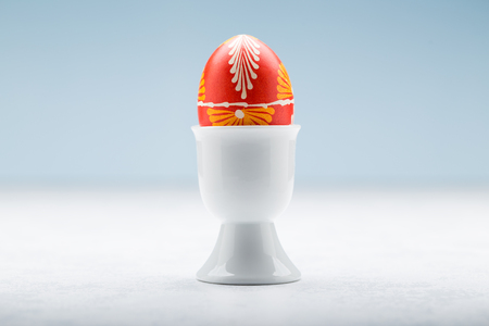 Typical easter egg from Slovakia with egg holder. Stok Fotoğraf