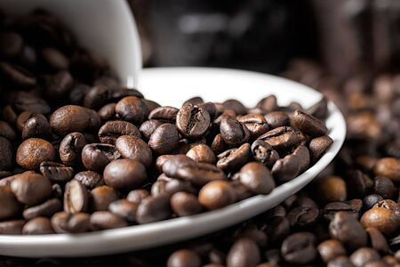 White coffee cup and roasted coffee beans