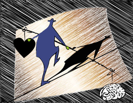 balance between reason and feeling Vector