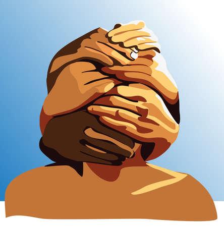 abandono: el hombre que se le neg� la oportunidad de comunicarse por miedo o por obligaci�n Vectores