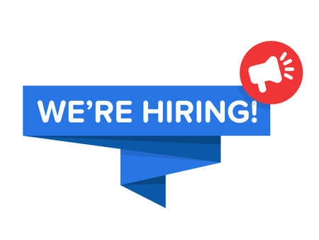 We are hiring vector illustration banner with speech bubble and megaphone